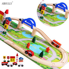 2017 Overpass Rushed Cars  Wooden Children Traffic Rail Toy Disassembling Combination Track Intersection Baby Educational Toys