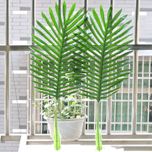 12 Branch 63cm Latex Lifelike Artificial Bamboo Evergreen Palm Plant Tree Leaf  Wedding Home Church Decor Green F529