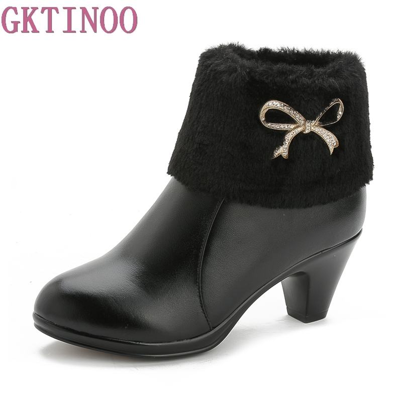 New Autumn Winter Women Boots High Heels Solid Warm Fur Ladies shoes Genuine Leather Fashion Boots Free Shipping<br>