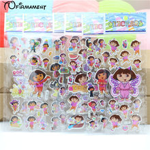 6pcs/pack cutie dora explorer children stickers party favors cartoon autocollant reward fun party event decoration toy paster