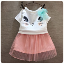 Korean Children's Garment 2016 Summer New Style Girl Baby Kitty Bow T Shirt Yarn Short Skirt You 2 Pieces Set Girl Suit
