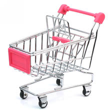 Stainless Steel Pink Mini Supermarket Handcart Shopping Utility Cart Mobile Display Stand Storage Basket Organizer Children Gift(China)