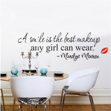 """ A smile is the best makeup any girl can wear "" PVC Wall Decals Adhesive Bedroom Wall Sticker Mural Art Home Decor Stickers"