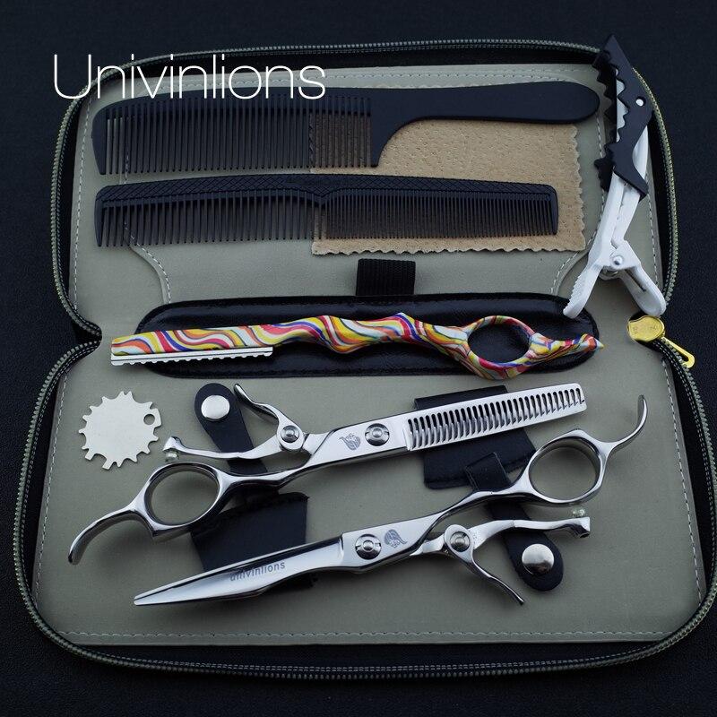 6 univinlions 440C open handle best barber hair scissor hairdressing scissors salon thinning shears japanese hair cutter shears<br>