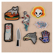 2017 New Hamburgers Cat Eagle Alien Patches Iron On Or Sew Fabric Sticker For Clothes Badge Embroidered Appliques DIY