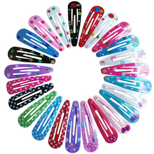 Wholesale 10 PCS per Lot Carton Candy Color Girls Hairpin 5cm BB Clips Snap Band Hairpins Kids Hair Accessories(China)
