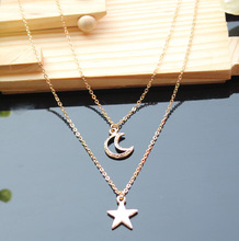 Two layer necklace, Multi strand, Moon and Star Necklace, Hammered, layering, simple necklace for women jewelry XY-N508