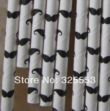 Promotion, wholesale 2000pcs Moustache print Drinking Paper Straws,party straws,Free shipping by EMS(China)