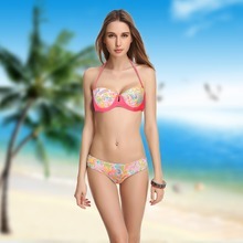 Mix Size Victoria lady Wild Sex Figure Push-up Bra Underwire Swim Suit Women Bikini Vintage bathing Swimwear Real Picture