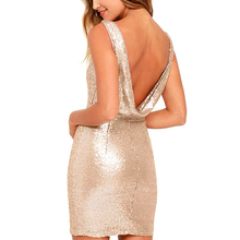 Buy Summer Women Sexy V Backless High Waist Slim Short Dresses Shiny Sequined Champagne Golden Female Party Mini Dress elbise Store) for $15.18 in AliExpress store