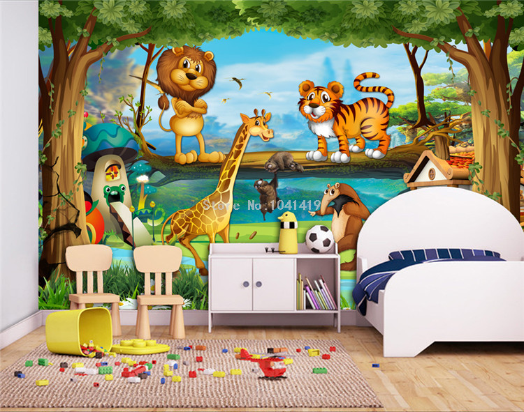 HTB1hWCiRFXXXXbtXFXXq6xXFXXXz - 3D Wall Murals Beautiful Cartoon Forest Animal World Photo Wallpaper For Children Room Papier Peint Enfant Eco-Friendly Frescoes