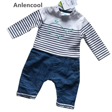 Anlencool 2017 Newborn Cute Whale Pattern Baby Rompers Cowboys pant Boys and Girl Long Jumpsuit Comfortable Cotton Baby clothing(China)