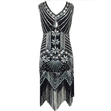 Sexy Party Dress Robe Femme 1920s Gatsby Flapper Sequin Tassel Embroidery Midi Summer Dress 2017 Vestidos X0014