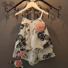 Toddler Baby Girls Flower Lace Dress Kids Summer Clothes Floral Shirt Vest Shorts 2pcs Outfits Clothing Set 2-7Y