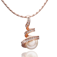 LN013 Fasion  Rose / White Gold Color Item Crystal Pave Imitation Pearl Pendant Necklace Women Jewelry Christmas Accessories