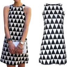 2018 Summer Clothes Women Sleeveless Dresses Fashion Sexy A-line Tank Dresses Triangle Pattern Mini Dresses Casual Slip Dresses