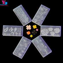 Acrylic Nail Carving Mold Cute 3D Clear Template Silicone Stamping Nail Plates Design Stencil Nails Stamper Art Decortion Tools(China)