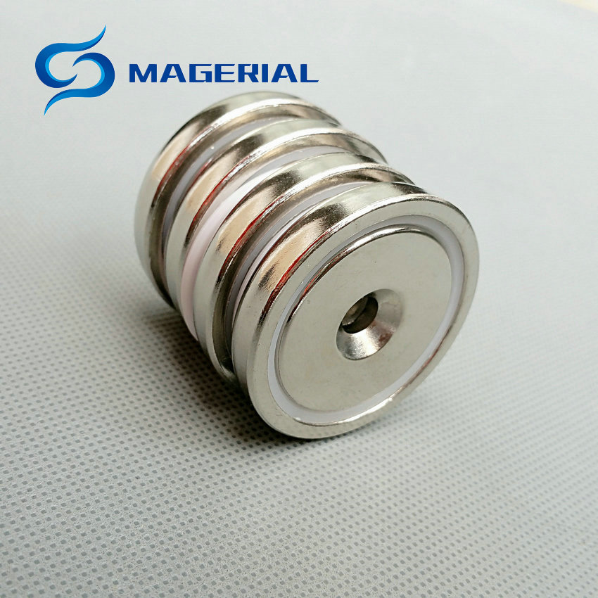 1 pack Mounting Magnet Pot Magnet Diameter 42 mm with Countersunk Screw Hole Neodymium Permanent Strong Holding Magnet<br>