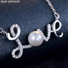 M&W JEWELRY New Fashion collana halsketting Clavicle Women Necklace LOVE 925 sterling silver Pearls Crystal Chain Pendant Jewelr(China)