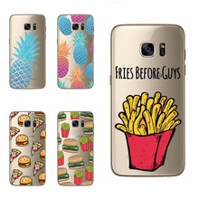 FRIES Fruit Pineapple Hamburger Design Soft Phone Cases For Samsung S5 S6 S7 Edge A3 A310 A5 A510 J5 J510 J710 2015 2016 Covers