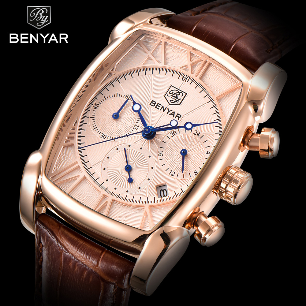 BENYAR Sports Military Men Watches 2017 Top Luxury Brand Man Chronograph Quartz-watch Leather Army Male Clock Relogios Masculino<br>
