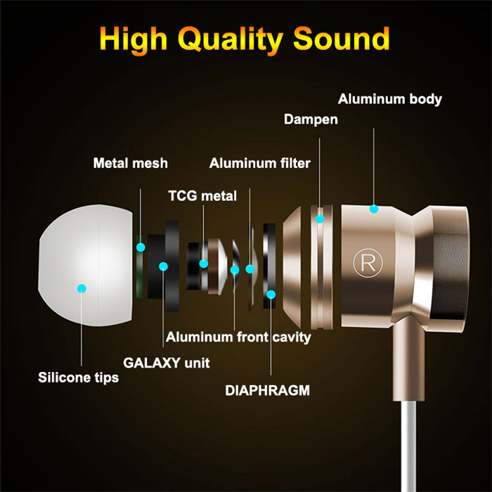 Earphone HiFi Headhone Bass Earbuds Metal Headset for OUKITEL U7