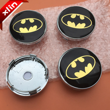 4pcs 60mm Yellow Batman logo Car emblem Wheel Center Hub Cap Rim Badge cover styling(China)