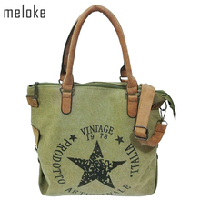 meloke 2018 high quality printed star letters canvas bags Big Size Multifunctional Travel Shoulder Bag Factory Outlet Bolsos(China)