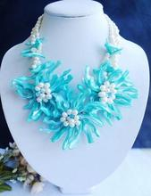 Perfect African Natural White Freshwater Pearl Blue Shell Flower Jewelry Necklace For Wedding Handmade New Free Shipping