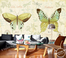 The custom 3D murals,Garden style pattern English butterfly flying papel de parede,living room sofa TV wall bedroom wall paper(China)