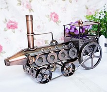Vintage Train Head Model Metal Iron Black/ Red Simulation Train Model Steam Engine Crafts household office decoration 620-1(China)