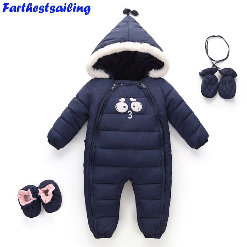 Newborn Baby Girls Boys Rompers Winter Warm Toddler Hooded Jumpsuit Kids Outwear Enfant  Snowsuit Boys Thick Cotton Clothing<br>
