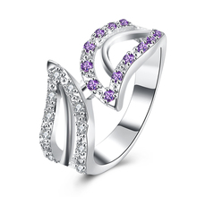 Hot Sale Exquisite Leaf-Shaped Created  Amethyst White Crystal Ring 925 Sterling Silver Engagement Wedding Ring Size 8