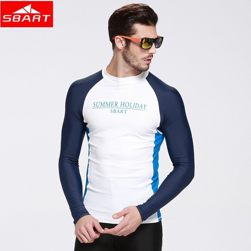 SBART new Rashguard Men Top Long Sleeve Swimsuit Lycra Surf Rash Guard Men Swim Surf Shirts Sunscreen UV Plus Size M - 4XL(China)