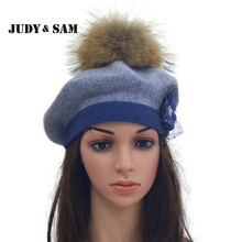 Warm Winter Real Fur Pom Pom Beret Hats Knit Angora Blens Caps with Flower Accessories