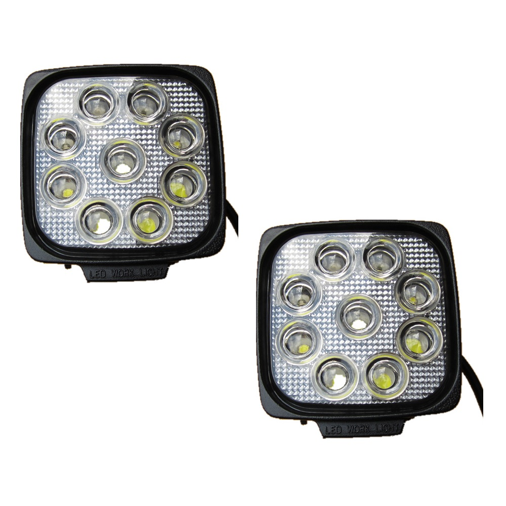 Pair 4.3inch square spot flood dc12v 24v IP68 waterproof  27W LED driving light fits truck tractor 4wd 4x4 offroad auto <br>
