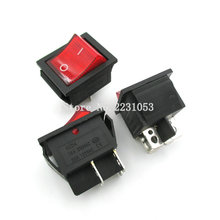2Pcs/Lot Red Light 4 Pin On/off Boat Button Switch 250V 15A AC AMP 125V/20A P0.5 25*31mm Rocker Switches KCD4-202(China)