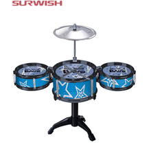 Surwish Children's Kid's Jazz Drum Set Musical Instrument Toy Playset with 3 Drums, Cymbal, Stand, Drumsticks - Random Color