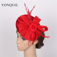 Elegant 2 roses adorned 15 colors red Fascinator Hat on hair band Wedding Party Royal Derby Race Women Bridal Hair Accessory