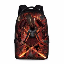 HUE MASTER 17 inch Ghost The samurai pattern school backpack  boys and girls laptop bag can store 15 inch laptop male backpack