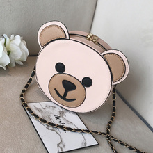 Korean cartoon cute bear Chain Bag Girl 2017 autumn and winter new soft sister round Bag Shoulder Satchel(China)