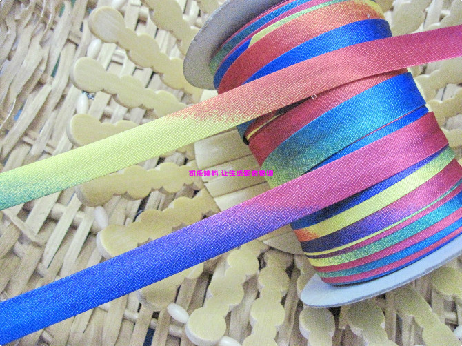 10 Meters/Lot Polyester Rainbow Air Bush Color Single Fold Bias Tape, Bias Binding 15mm Width For Craft Making And Diy