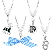 4Pcs/Set Bow Tie Edelweiss Pendant Necklace Alloy Pendant Necklace German Oktoberfest Necklace Jewelry Gifts Fashion For Women(China)