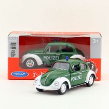 Welly DieCast Model/1:36 Scale/VOLKSWAGEN Classical Beetle Police Toy Car/Pull Back Collection/Children's gift/Collection
