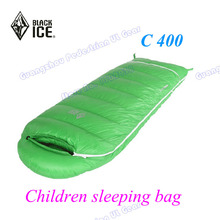 Black Ice 400 grams Children white goose down high quality spring autumn sleeping bag(China)