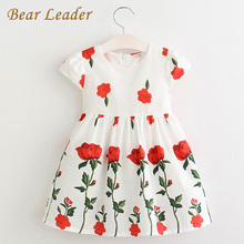 Bear Leader Girls Dress 2017 Spring&Summer Style Brand Girls Clothes Rose Flowers Design Dress for Kids Clothes Princess Dresses