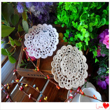 free shipping 30 pic/lot 13cm Round cotton knitted lace doilies 100% natural cotton made cup holders pads coasters felt tablemat