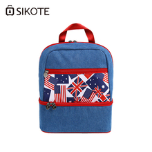 SIKOTE Lunch Bag Cowboy Double Denim Nutrition Strap Keep Fresh Portable Backpack Lunch Box Insulation 9.9L Cooler Bags(China)