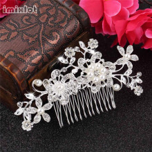 2017 Limited Real Plant Rhinestone Hair Combs Trendy Wedding Bridal Hair Pins Flower Clips Bridesmaid Jewelry Accessories(China)