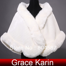 Free Shipping Winter Grace Karin Ivory Faux Fur Coat For Wedding Dress Accessories Bridal Shawl Cape Mariage Tippet 2017 CL4943